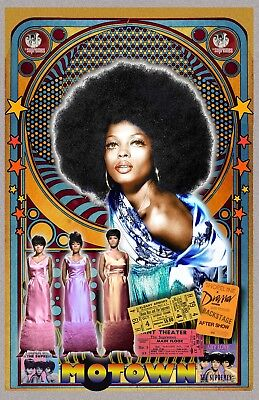 "Diana Ross & the Supremes -11x17"" poster - signed by artist - vivid-colors"