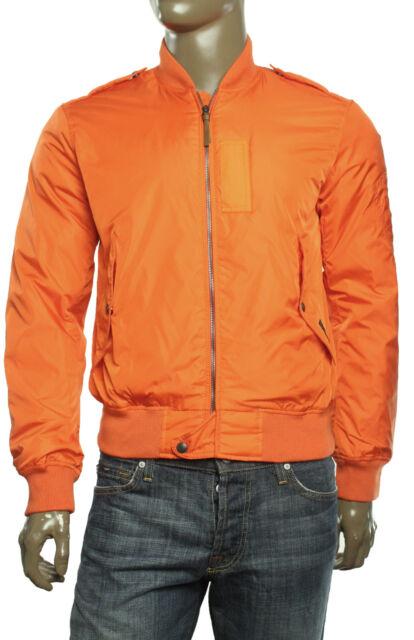 Ralph Lauren Polo Logo Mens Orange Nylon Bomber Flight Jacket Coat ...