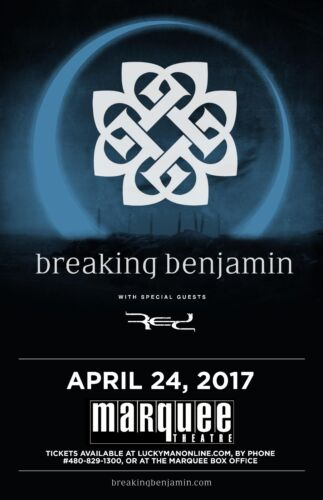 BREAKING BENJAMIN/RED 2017 PHOENIX CONCERT TOUR POSTER-Hard Rock,Alt Metal Music