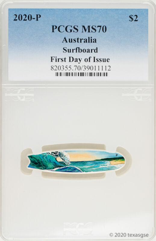 2020-P Australia Silver Surfboard 2 oz Silver Colorized $2 Coin PCGS MS70 - FDI