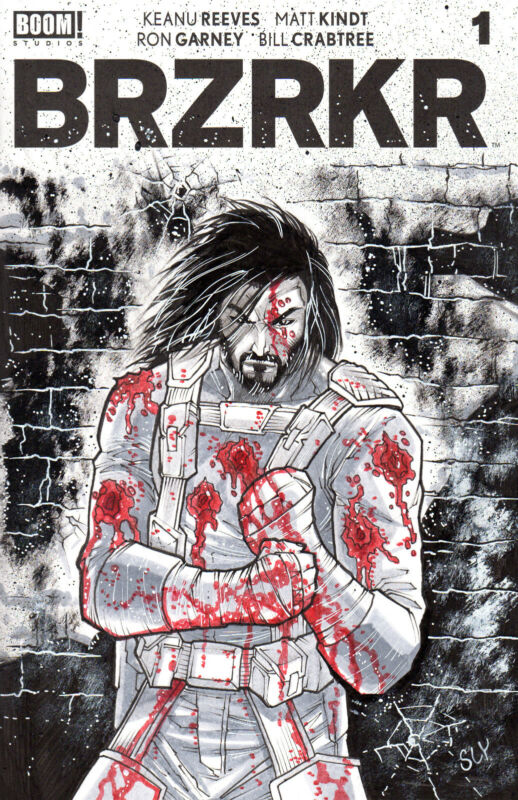 BRZRKR Original blank cover comic book art. Keanu Reeves