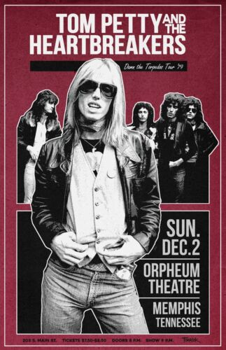 Tom Petty and The Heartbreakers 1979 Tour Poster