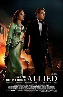 Allied Movie Poster  B    11 X 17 Inches   Brad Pitt Poster  Marion Cottilard