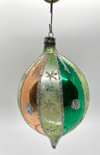 Vintage Shiny Bright Christmas Ornament Green Red Silver & Blue with Glitter