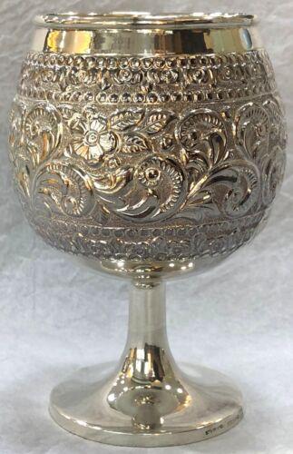 925 Sterling Silver Floral Work Goblet Barware Bar Set Gift Home Decorative