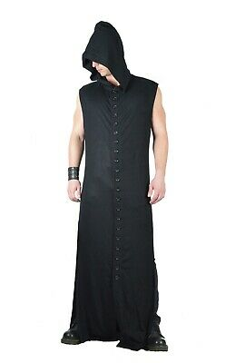 SHRINE GOTHIC STEAMPUNK RITUAL MEDIEVAL COTTON BLACK VAMPIRE WRAITH ROBE COAT Clothing, Shoes & Accessories
