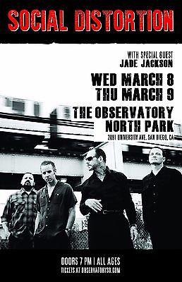 SOCIAL DISTORTION / JADE JACKSON 2017 SAN DIEGO CONCERT TOUR POSTER - Punk Rock