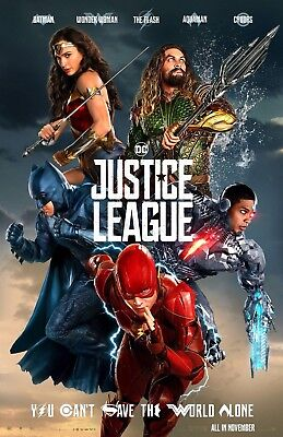 Justice League poster - 11 x 17 - Wonder Woman, Batman, Aquaman, Flash, Cyborg