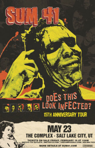"""SUM 41 """"DOES THIS LOOK INFECTED?"""" 2018 SALT LAKE CONCERT TOUR POSTER - Punk Rock"""