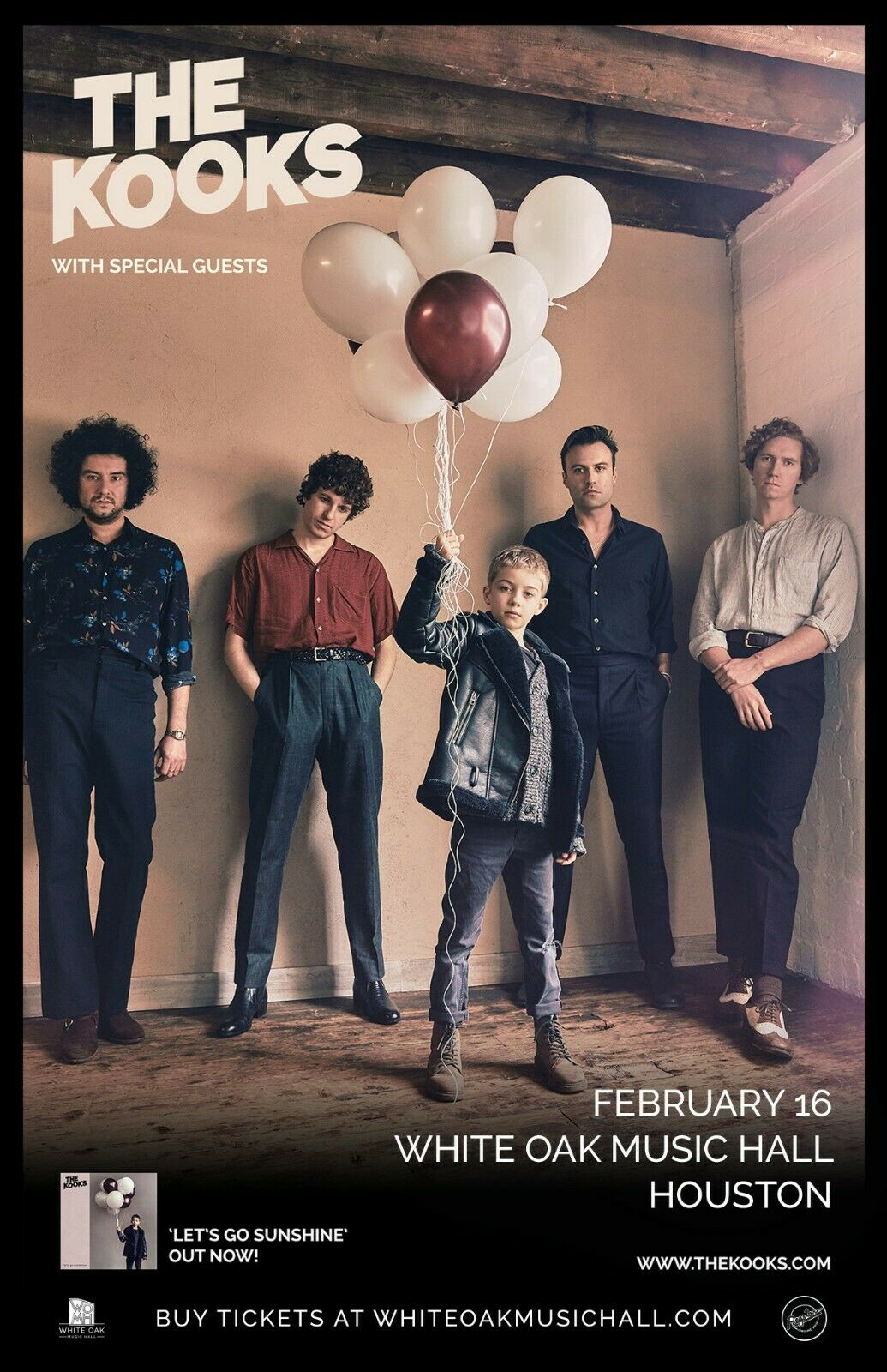 THE KOOKS LET S GO SUNSHINE 2019 HOUSTON CONCERT TOUR POSTER- Indie Rock Music - $10.99