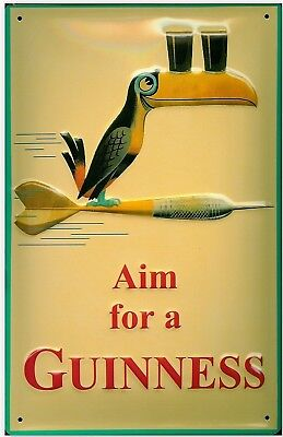 Aim For A Guinness large embossed steel sign  400mm x 300mm (hi)