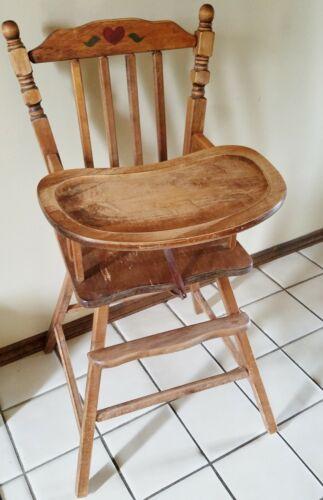 Vintage Distinctive Foldaway Furniture Wood Baby High Chair