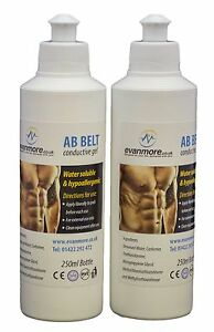 2 x 250ml Bottles Conductive Gel Ab Abs Abdominal Toning Belt Pad TENS EMS Rio