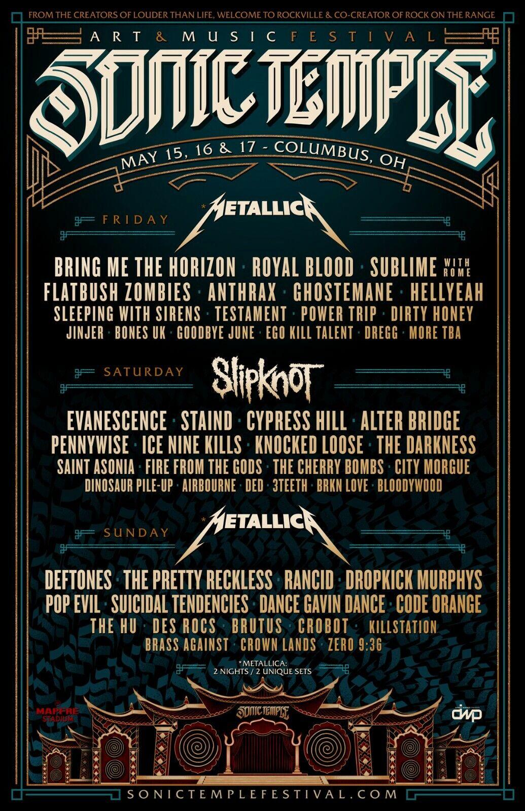 SONIC TEMPLE FESTIVAL 2020 CONCERT POSTER -Metallica, Slipknot, Deftones, Staind - $11.99