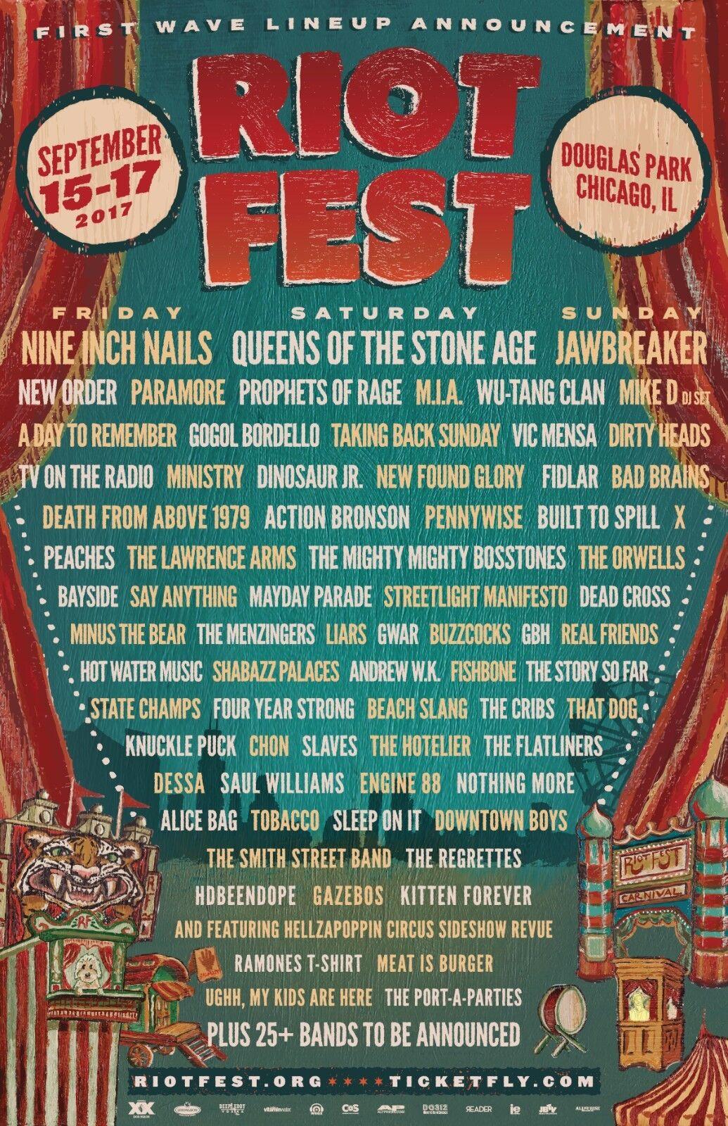 RIOT FEST 2017 CHICAGO CONCERT POSTER -Nine Inch Nails,New Order,Pennywise,Gwar - $11.99