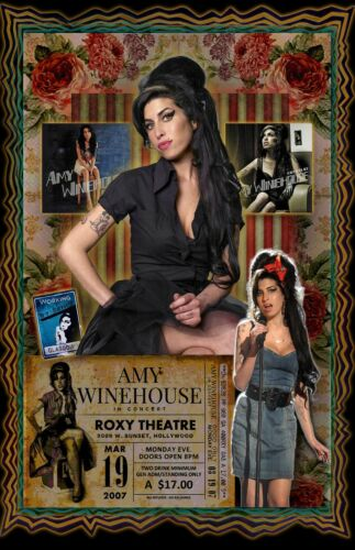 """Amy Winehouse Tribute Poster - 11x17"""" Vivid Colors"""