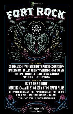FORT ROCK FESTIVAL 2018 FLORIDA CONCERT TOUR POSTER-OZZY OSBOURNE, GODSMACK, STP