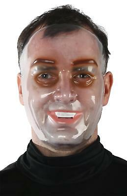 ADULT CLEAR TRANSPARENT YOUNG MALE FACE MASK HALLOWEEN COSTUME MR139016 - Clear Face Mask Costume