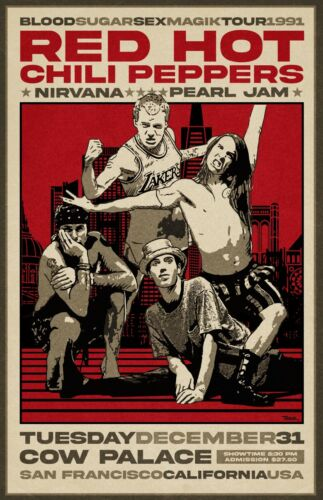 Red Hot Chili Peppers 1991 Concert Poster