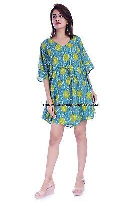 Talla Grande Mujer Algodón Caftán Floral Vestido Camisero Manga Corta Maxi Indio