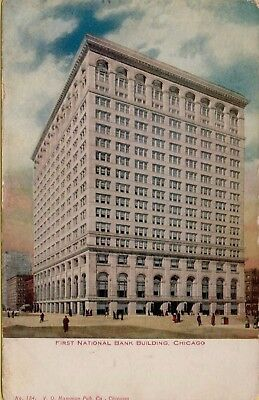 Vtg First National Bank Building Chicago Illinois Il 1908 Postcard