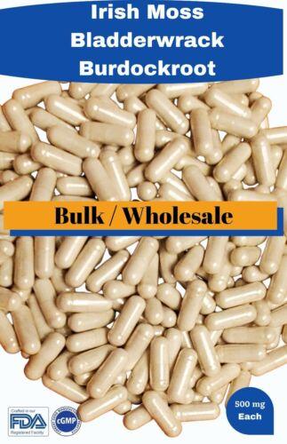 Organic Irish moss Bladderwrack Burdock root -Bulk /Wholesale = 5000 capsules