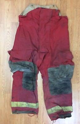 Vintage Firefighter Red Bunker Turnout Pants 36 X 28 1991 Globe