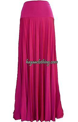 FUCHIA - Hayaa Pleated Long Maxi Skirts Foldable Waistband XS S -