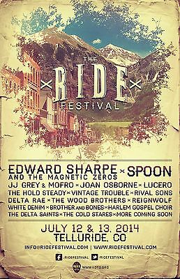 "EDWARD SHARPE / SPOON / LUCERO ""RIDE FESTIVAL""2014 TELLURIDE CONCERT TOUR POSTER"
