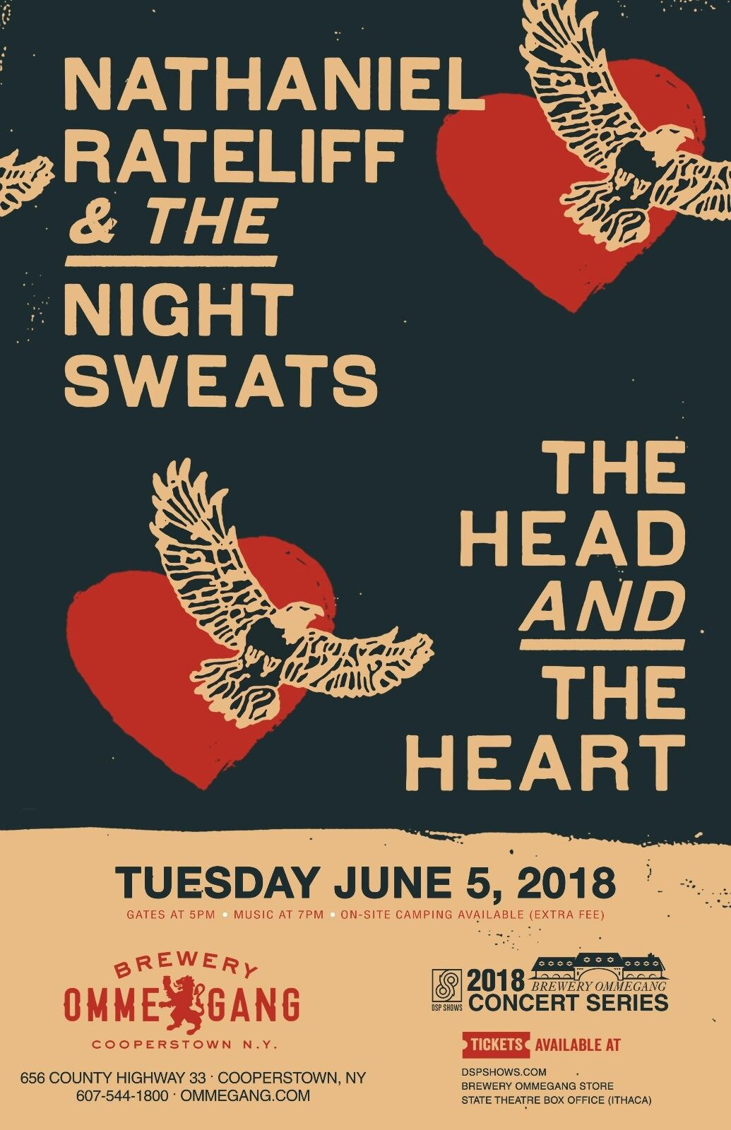 NATHANIEL RATELIFF NIGHT SWEATS/HEAD HEART 2018 NEW YORK CONCERT TOUR POSTER - $10.99