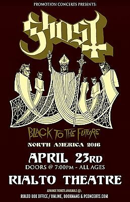 "GHOST ""BLACK TO THE FUTURE NORTH AMERICA 2016"" TUCSON CONCERT TOUR POSTER"