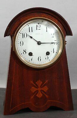 Antique Arts & Crafts SETH THOMAS Inlaid Mahogany Working Mantle Clock
