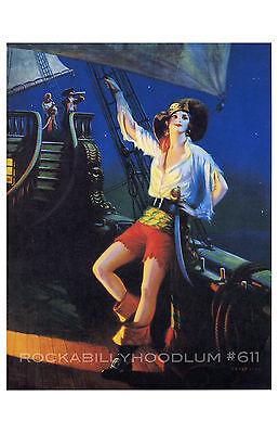 Sexy Girl Piraten (Pin Up Girl Poster 11x17 Art Déco Flapper Sexy Piratenschiff Kapitän Gypsy)