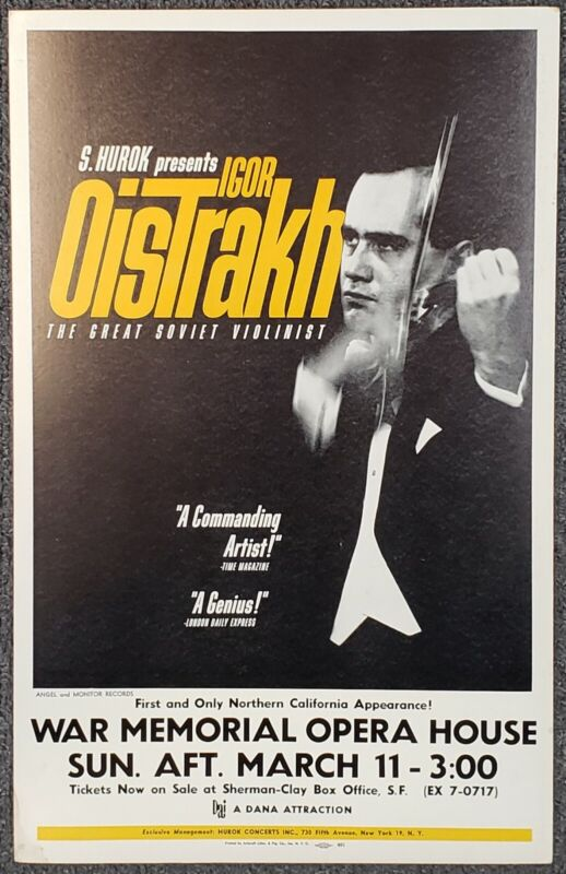 Igor Oistrakh War Memorial Opera House SF 1962 CARDBOARD CONCERT POSTER
