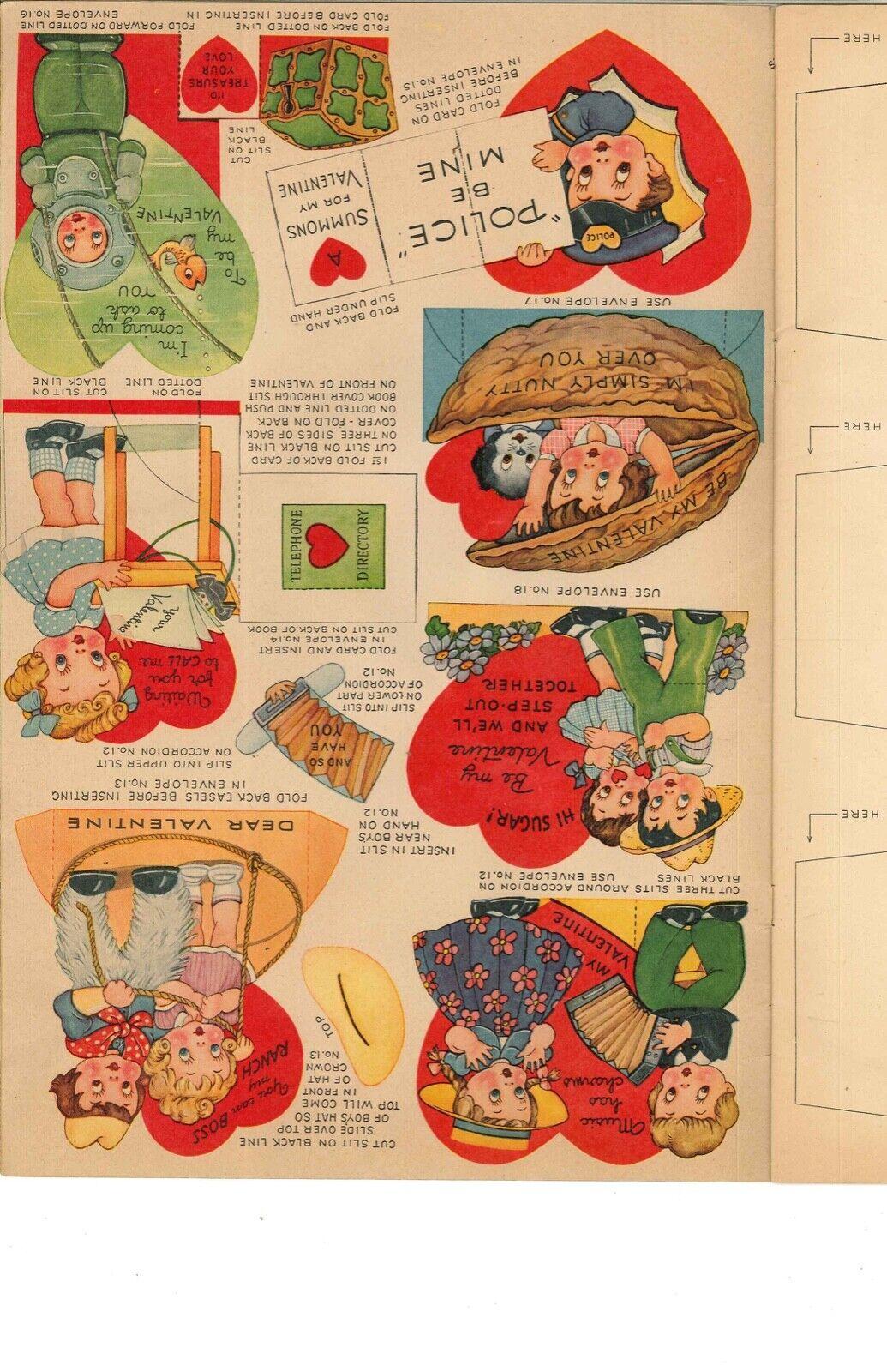 VINTGE UNCT 1930S 22 VALENTINES PUNCHOUT PAPER DOLL ~WHITMAN~ORG SZ~LASR REPRODU