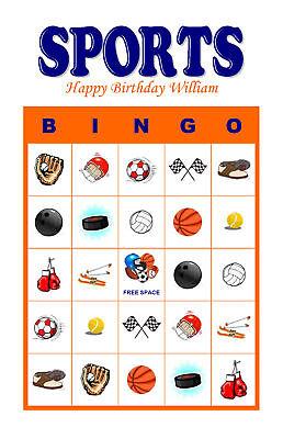 Sports Birthday Party Game & Activity Bingo Cards