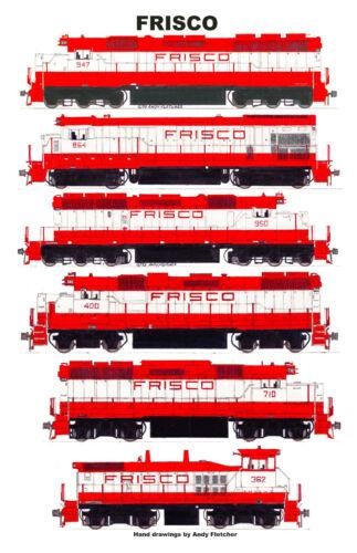 "Frisco Locomotives 11""x17"" Railroad Poster Andy Fletcher signed"