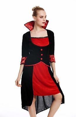 Kostüm Damen Frauen Halloween Karneval Böse Fee Vampirin Kleid schwarz rot M ()