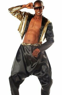 Old School Rapper Costume Deluxe Adult MC Hammer 90's 90s Rap Parachute Pants - Old Men Costume