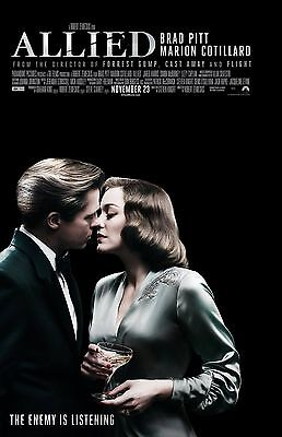 Allied Movie Poster  A    11 X 17 Inches   Brad Pitt Poster  Marion Cottilard
