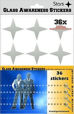 36 STARS Glass Awareness Stickers 50 mm Etched Effect Frosted Film Patio Doors ()