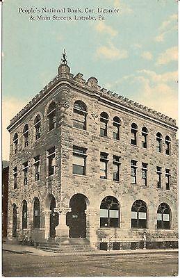 People's National Bank Corner of Ligonier and Main Streets Latrobe PA Postcard ()