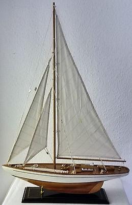 Modell Segelboot Segelschiff Segelyacht Holz Weiß Dekoration Maritim 4323