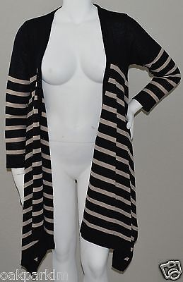 Olian Black & Beige Stripe Maternity Open Waterfall Cardigan Sweater Size M New!