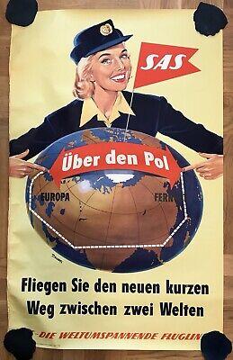 VINTAGE AUTHENTIC SAS ADVERTISING FLIGHTS BIG TRAVEL POSTER AVIATION 1950's