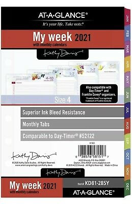 2021 At-a-glance Weekly Monthly Planner Refill 52122 Kd81-285y-21 New