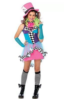 Halloween Costume Mayhem Mad Hatter Alice in Wonderland Teen S/M 10-12 Crazy