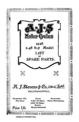 (0010) 1928 AJS 2.48hp parts catalogue