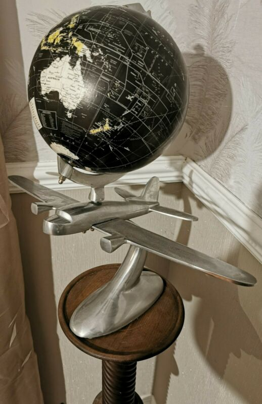 Striking Art Deco Style Desk Globe With solid Alloy metal Airplane stand