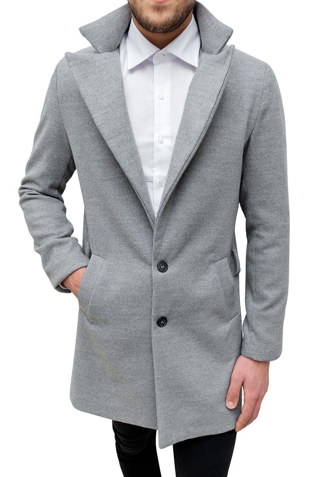 Elegante cappotto uomo grigio invernale lungo casual giacca soprabito  sartoriale.   7bdc6b40ca8